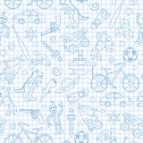Seamless illustration  on the theme of childhood and toys, toys for boys, blue  contour  icons on the clean writing-book sheet in. Seamless pattern on the theme Stock Photography