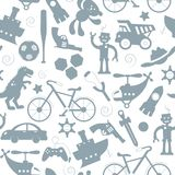 Seamless illustration on the theme of childhood and toys, toys for boys, grey silhouettes icons on a white background. Seamless pattern on the theme of childhood Royalty Free Illustration