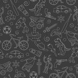 Seamless illustration  on the theme of childhood and toys, toys for boys, light contour icons on dark background. Seamless pattern on the theme of childhood and Stock Image