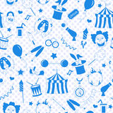 Seamless illustration on the theme of circus,  a blue silhouettes of icons on the background of polka dots. Seamless pattern on the theme of circus,  a blue Stock Photography