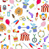 Seamless illustration  on the theme of circus, simple color icons on white background Royalty Free Stock Photo