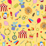 Seamless illustration  on the theme of circus, simple color icons on yellow background Royalty Free Stock Photo