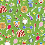 Seamless illustration on the theme of circus, simple colored icons stickers on a green background Royalty Free Stock Image