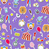 Seamless illustration on the theme of circus, simple colored icons stickers on a purple background Royalty Free Stock Photo