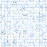 Seamless illustration on the theme of circus, simple contour icons, blue  contour  icons on the clean writing-book sheet in a cage. Seamless pattern on the theme Stock Photo