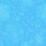 Seamless illustration  on the theme of circus, simple contour icons, white  contour on blue  background. Seamless pattern on the theme of circus, simple contour Royalty Free Stock Photos