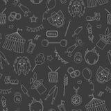Seamless illustration  on the theme of circus, simple contour icons, white  contour on dark background. Seamless pattern on the theme of circus, simple contour Royalty Free Stock Image