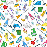 Seamless illustration on the theme of cleaning and household equipment and cleaning products,color icons on white background Royalty Free Stock Photos