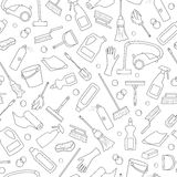 Seamless illustration on the theme of cleaning and household equipment and cleaning products, dark outline on a white background Royalty Free Stock Images