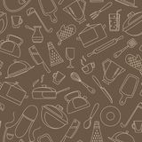 Seamless illustration on the theme of cooking and kitchen utensils, simple contour icons, beige contour on brown background. Seamless pattern on the theme of stock illustration