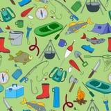 Seamless illustration on the theme of fishing Royalty Free Stock Photo