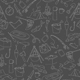 Seamless illustration on the theme of fishing, a simple hand-drawn contour icons on dark background Stock Photos
