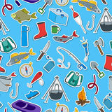 Seamless illustration on the theme of fishing, a simple hand-drawn icons Royalty Free Stock Image