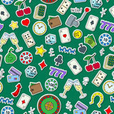 Seamless illustration on the theme of gambling and money simple painted icons on green background Stock Image