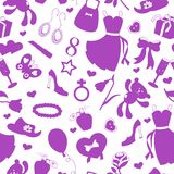 Seamless illustration  on the theme of international women`s day on 8 March,the outlines of objects purple icons on a white backg. Seamless pattern on the theme Royalty Free Stock Photos