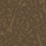 Seamless illustration on the theme of journey in the country of America, simple contour icons ,beige outline on a brown background. Seamless pattern on the theme Stock Photos