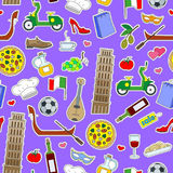 Seamless illustration on the theme of journey in the country of Italy, simple colored icons patches on a purple background Royalty Free Stock Image