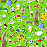 Seamless illustration  on the theme of journey in the country of Italy, simple colored icons stickers on green  background Stock Images