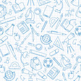 Seamless illustration on the theme of lessons in school. Seamless pattern on the theme of the school, a simple contour icons, dark blue outline on a light Royalty Free Stock Image