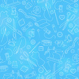 Seamless illustration on the theme of needlework and sewing , simple outline icons on a blue background Royalty Free Stock Photo