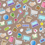 Seamless illustration on the theme of online shopping and Internet shops, colorful stickers icons on brown background. Seamless pattern on the theme of online Stock Image