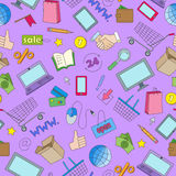 Seamless illustration  on the theme of online shopping and Internet stores, the colored icons on purple background. Seamless pattern on the theme of online Royalty Free Stock Image