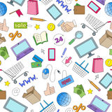 Seamless illustration  on the theme of online shopping and Internet stores, the colored icons on white background. Seamless pattern on the theme of online Royalty Free Stock Images
