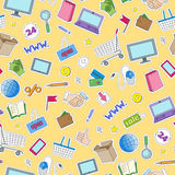 Seamless illustration  on the theme of online shopping and Internet stores, the colored patches icons on yellow background. Seamless pattern on the theme of Stock Photo