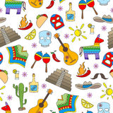 Seamless illustration  on the theme of recreation in the country of Mexico, colorful icons on white background Stock Photo