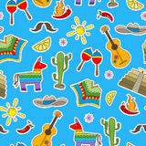 Seamless illustration on the theme of recreation in the country of Mexico, colorful patches icons on blue background Royalty Free Stock Image