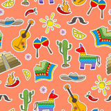 Seamless illustration on the theme of recreation in the country of Mexico, colorful patches icons on a orange  background Royalty Free Stock Images