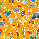 Seamless illustration on the theme of recreation in the country of Mexico, colorful stickers icons on orange background Stock Images