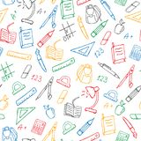 Seamless illustration on the theme of the school, a simple hand-drawn contour icons ,colored markers on a white background. Seamless pattern on the theme of the royalty free illustration