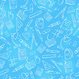 Seamless illustration on the theme of the school, a simple hand-drawn contour icons ,light contour on blue background Stock Image