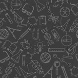 Seamless illustration  on the theme of science and inventions, diagrams, charts, and equipment,light  simple contour icons on a da. Seamless pattern on the theme Stock Image