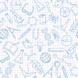 Seamless illustration on the theme of science and inventions, diagrams, charts, and equipment,a simple contour icons, dark blue ou. Seamless pattern on the theme Royalty Free Stock Photography