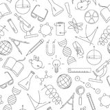 Seamless illustration  on the theme of science and inventions, diagrams, charts, and equipment, simple contour icons on white back. Seamless pattern on the theme Stock Images