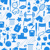 Seamless illustration on a theme sports and physical development , a blue silhouettes of icons on the background of polka dots Stock Photography