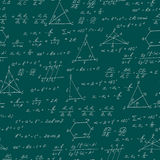 Seamless illustration on the theme of the subject of geometry , formulas, and charts of theorems , a bright outline on a green bac Stock Image