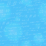 Seamless illustration on the theme of the subject of mathematics, formulas, theorems , light characters on a blue background. Seamless pattern on the theme of Stock Photos