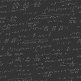Seamless illustration on the theme of the subject of mathematics, formulas, theorems , light characters on a dark background Stock Photos