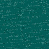 Seamless illustration on the theme of the subject of mathematics, formulas, theorems , light characters on a green background Royalty Free Stock Image