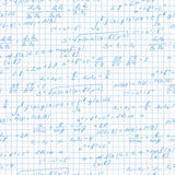 Seamless illustration on the theme of the subject of mathematics, formulas theorems on the notebook sheet in a cage Stock Images