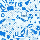 Seamless illustration on the theme of the subject of physics education, simple a blue silhouettes of icons on the background of po. Seamless pattern on the theme Stock Image