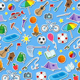 Seamless illustration on the theme of summer camp and vacations, icons stickers on blue background. Seamless pattern on the theme of summer camp and vacations Stock Image