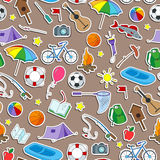 Seamless illustration on the theme of summer camp and vacations, icons stickers on brown background. Seamless pattern on the theme of summer camp and vacations Stock Photography