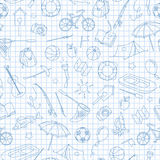 Seamless illustration on the theme of summer camp and vacations, simple contour icons, blue  contour  icons on the clean writing-b. Seamless pattern on the theme Stock Images