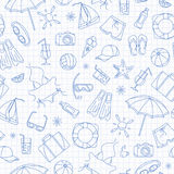 Seamless illustration on the theme of summer holidays in hot countries, blue  contour  icons on the clean writing-book sheet in a. Seamless pattern on the theme Stock Image