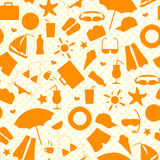 Seamless illustration  on the theme of summer holidays in hot countries, the orange outlines of the icons on the background polka Royalty Free Stock Image
