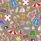 Seamless illustration   on the theme of summer holidays in hot countries, simple Ccolored icons patches on a brown background Royalty Free Stock Photo